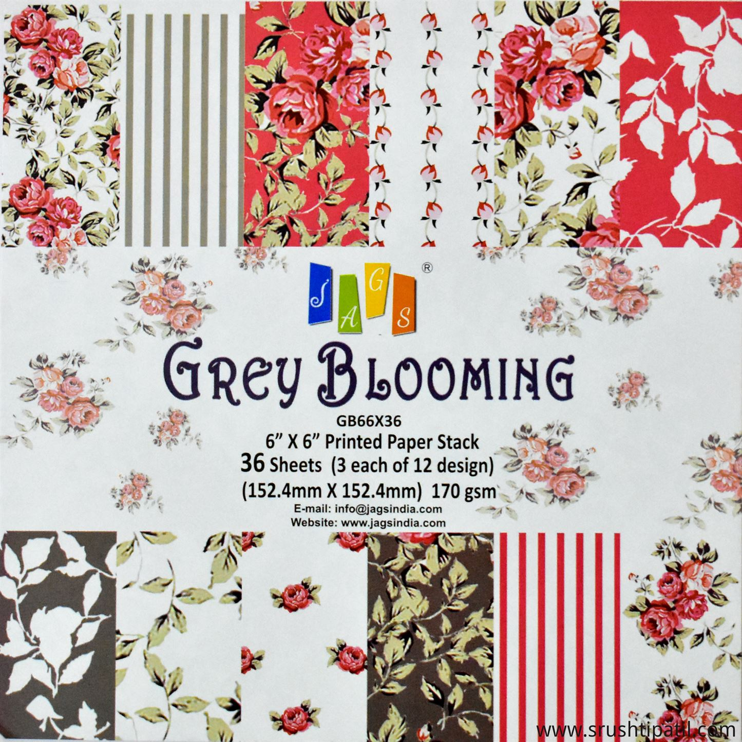 Jags Grey Blooming Paper Pack 6 By 6 Srushti Patil